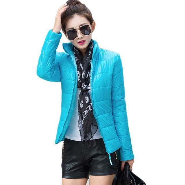 Mulheres jaqueta de inverno Outono gola da longo-luva curto parágrafo Zipper jaqueta casaco feminino grandes estaleiros fino e leve mulheres