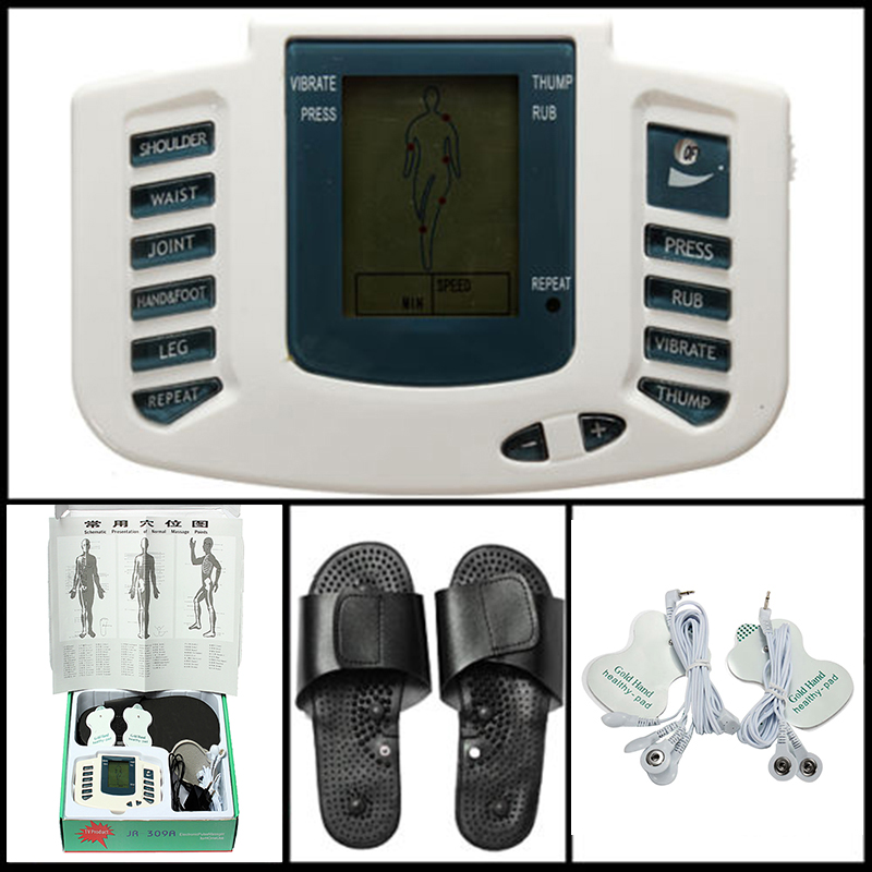 Massager, Massage & Relaxation Digital Stimulator Massager Full Body Relax Pulse Acupuncture Therapy with Slipper+2 Pads 2017 hot sale mini electric massager digital pulse therapy muscle full body massager silver