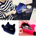 NEW Flannel Cute Cartoon Cat Cosmetic Makeup Bags Storage Pen Pencil Pouch Cases