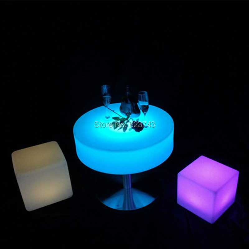 Remote Control Plastic Round Illuminated Coffee Adjustable Bar Table Rechargeable Led Table Basse Lumineuse LED Multicolore