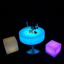 цена Remote control Plastic round illuminated coffee Adjustable bar table rechargeable led Table basse lumineuse LED Multicolore онлайн в 2017 году