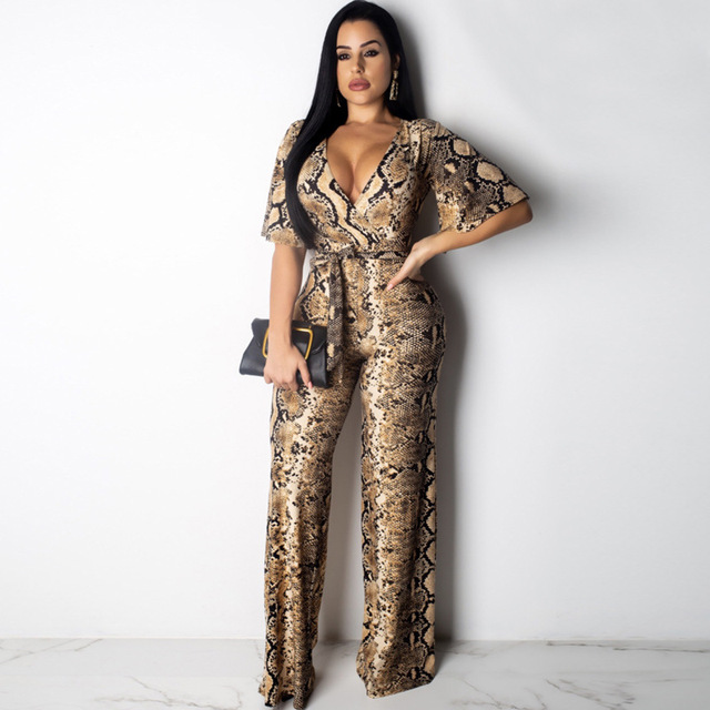 Sexy Snake Print Strapless Night Party Club Jumpsuit Women Summer Casual Deep V Neck Short Sleeve Rompers Female Overalls Outfit 3