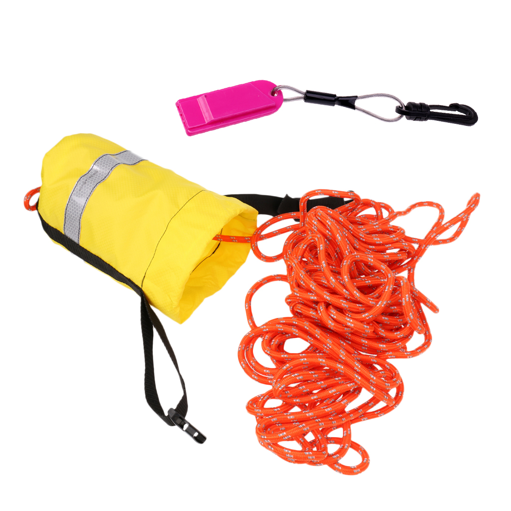 16m Kayaking Reflective Throwline Rescue Throw Bag Floating Rope + Safety Whistle For Hiking Camping Water Sports