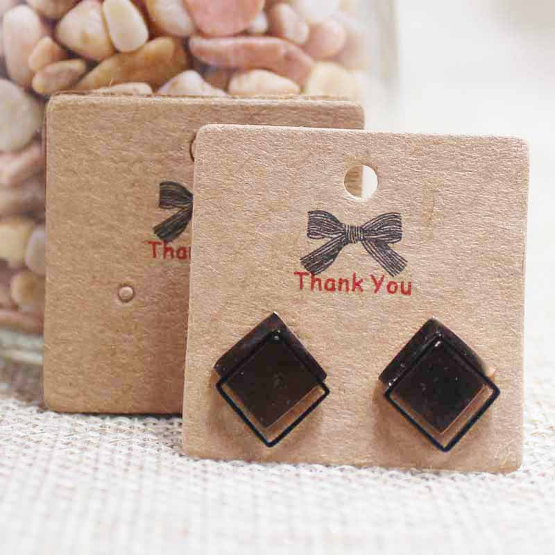 Zerong Kraft Jewelry Tag Card ,vintage Square Thank You Stud Earring Dispaly Tag Card.Cardboard Jewelry Package Card Tag3*3cm