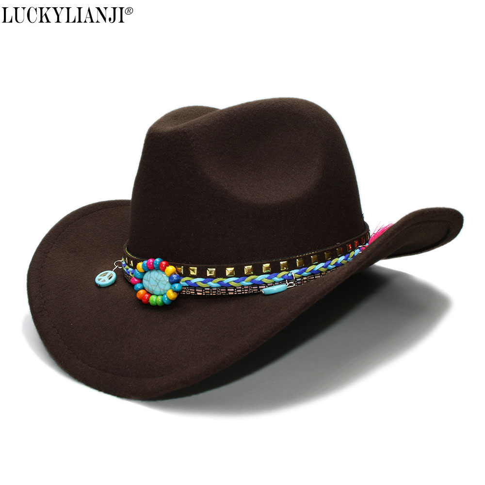 LUCKYLIANJI Kid Child Children's Wool Felt Cowboy Wide Brim Bowler Hat Peace Sign Turquoise Braid Band (54cm)