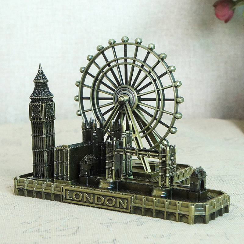 Metal Handmade London Buildings Statue Creative Home Decoration Accessories Living Room Bedroom Study Furnishings Birthday Gift in Figurines Miniatures from Home Garden