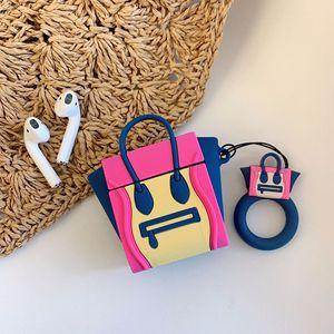 Image 3 - Für AirPods Fall Silikon Nette 3D Handtasche Kopfhörer Fall Für Airpods 2 Kopfhörer Fall für Apple Air schoten Abdeckung Earpods ring Strap