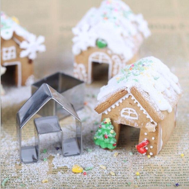 3 יח\סט נירוסטה מיני בית קוקי עובש ביסקוויט יצק עוגת קישוט קינוח אפיית עובש עבור חג המולד