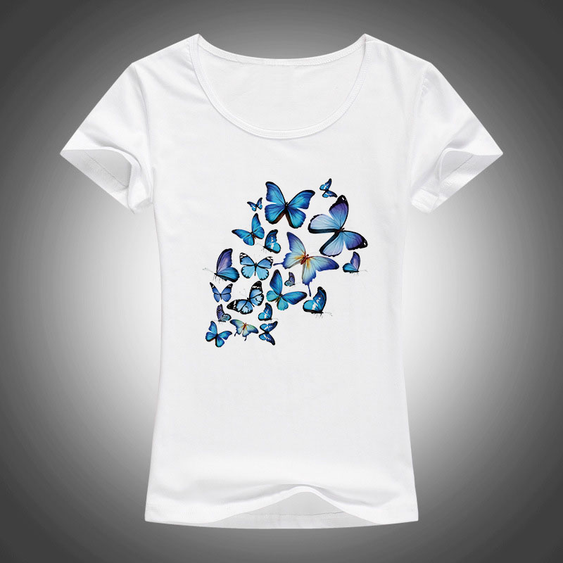 pillangók Nyomtatott pamut póló Női póló Harajuku Camisetas Mujer nyári rövid ujjú Tops o-neck póló Tees Femme 1903