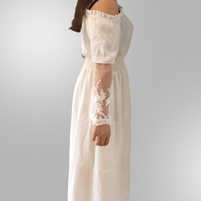 b160e38250 2019 Elegant Lace White Tunic Summer Maxi Dress Women Slash Neck ...