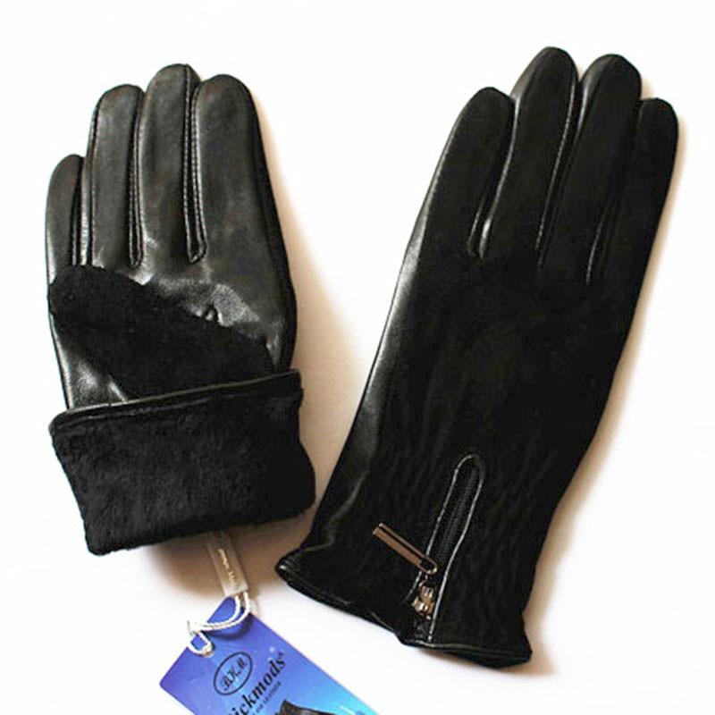 Image 4 - Sheepskin gloves women thickening autumn and winter warm new suede gloves fashion zipper style leather finger glovesWomens Gloves   -