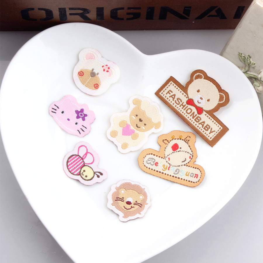 Kawaii Animal Bear Cat Bee Lion Shape Fabric Cotton Patch Stickers Fit Girl Women Hair Jewelry Accessories Garment Patches