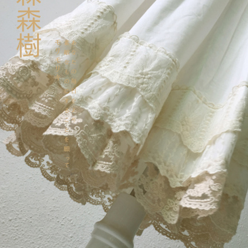 Japanese Mori Girl Multi Layer Lace Cotton Skirt Women White Fairy Embroidery Pleated Princess Underskirt Kawaii Skirt A285-1