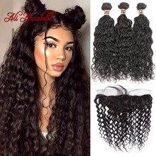 Pacotes de onda de água com frontal peruano feixes de cabelo humano com 13x4 fechamento do laço pacotes de cabelo humano com laço frontal