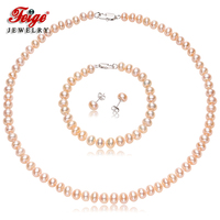 Trendy Natural Pink Pearl Necklace Jewelry Sets for Lady Engagement Gifts 7 8MM Freshwater Pearls 925 Silver Earrings Set FEIGE