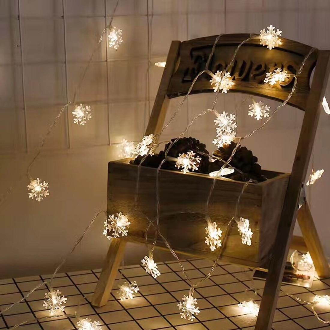 Поп-5 м/10 м Рождество фонари светодиодные строки елку Фея свет декоративные снег, огни дерева Гирлянда новогодняя елочные украшения