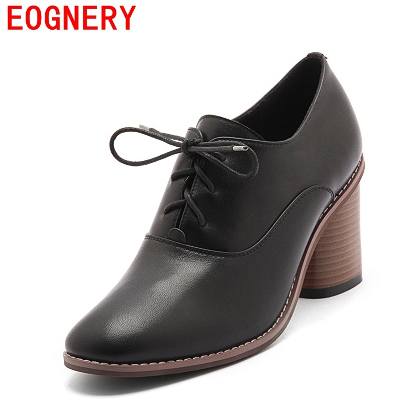 Egonery spring high heels pumps lace shoes woman genuine leather high quality shoes for office ladies