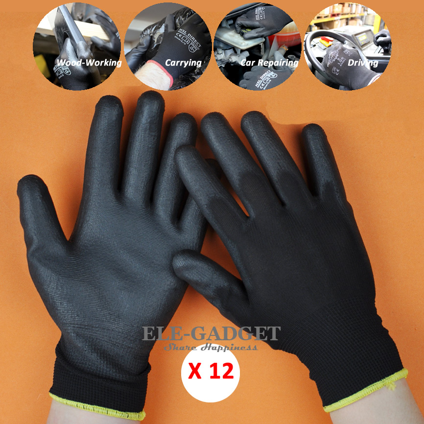 New 12 Pairs Working Safety Gloves Nylon Knitted Gloves With PU Coated For Driver Worker Gardener Protective Gloves Wholesale