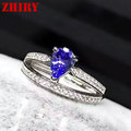 Real blue tanzanite gem stone ring 925 sterling silver 100% natural gem fine jewelry woman wedding anniversary