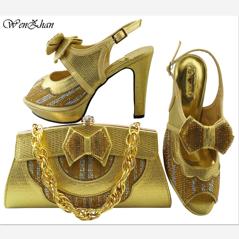 WENZHAN New Gold crystal Wedding/party shoes and bags to match woman Fashion High shoes women's Pumps shoe and bag set 079-25 aidocrystal unique design handmade gold crystal high heel platform shoe and bag set for wedding bridal party