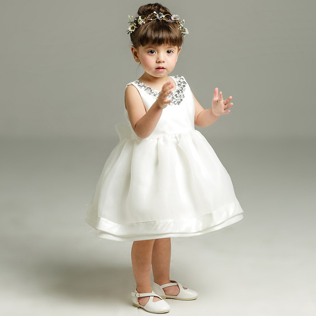 931c9b8d86ded US $25.91 |Newborn Baptism Dress For Baby Girl White First Birthday Party  Wear Wedding Sleeveless Toddler Girl Christening Gown Clothes-in Dresses ...