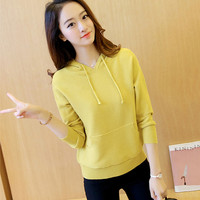 2018 Autumn Winter New Women Hooded Pullover Sweater Solid Color Long Sleeve Pocket Female Short Casual Knit Sweater LQ158