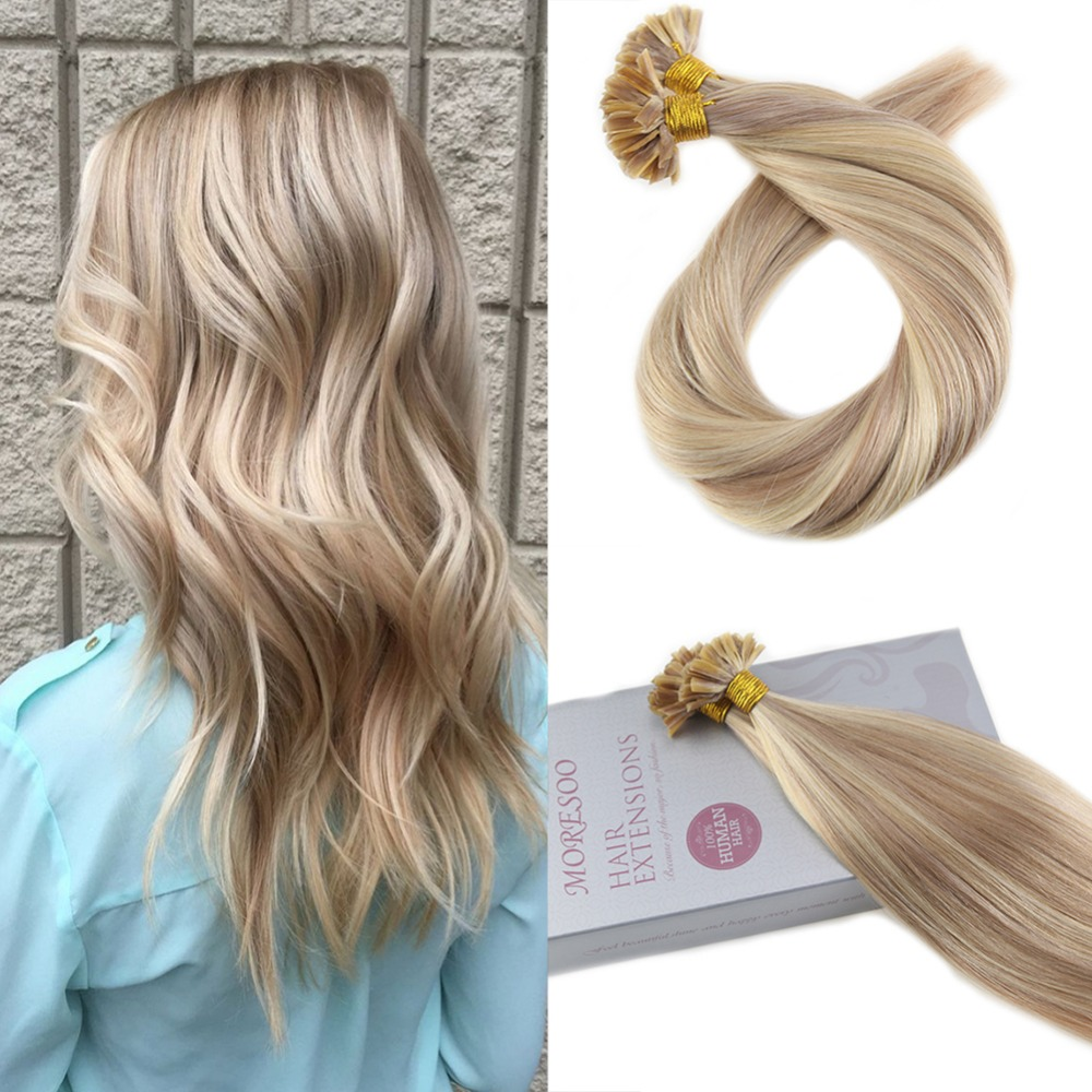 Moresoo U Tip Highlight Hair Extensions Remy Human Hair Keratin Hair