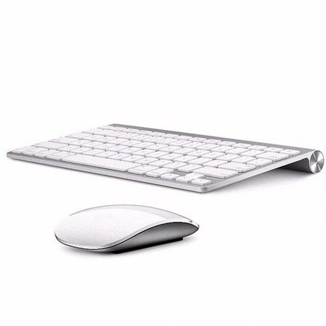 لوحة مفاتيح روسية رقيقة جدا لاسلكية لوحة مفاتيح وماوس 2.4G ماوس لاسلكي لابل لوحة المفاتيح نمط ماك وين XP/7/8/10 Tv Box