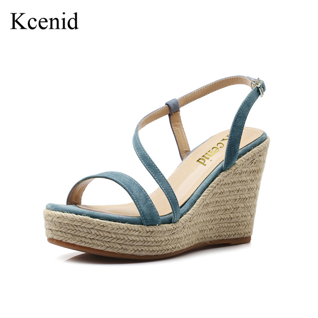70f410da11e0c9 Kcenid 2018 Newest top quality wedge shoes high heels summer sandals women  party dress pumps fashion kid suede platform shoes