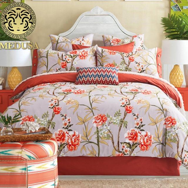 Медуза винтажные хлопковые постельное белье king queen size одеялом/Doona простыней наволочки 4 шт. постельных принадлежностей/кирпич