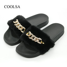 COOLSA Womens Solid Flat Non-slip Faux Fur Chain Slippers Winter Plush Furry Slides Indoor Fashion Flip Flops