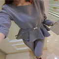 2015 Autumn Women Casual Suits Three quarter Sleeve O-neck Houndstooth Pattenr Pullover Shirt + ninth Pencil pants  9288#