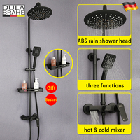 Black Rain Shower Faucet Set Hot And Cold Thermostat Mixer Tap Waterfall Bathroom Shower Head Digital Bath Panel System