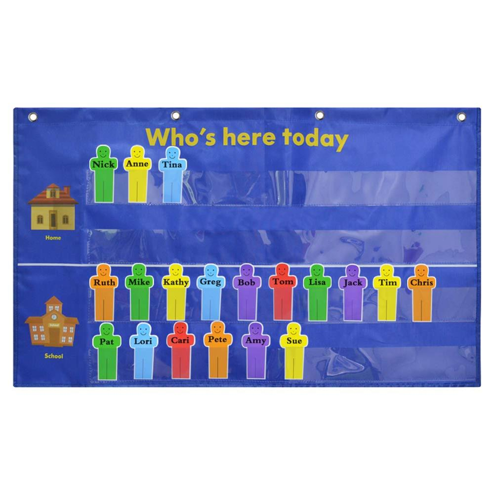 Godery Who Is Here Today Attendance Pocket Chart Suitable For Classroom, Preschool, Kindergarten With 36 Replacement Cards