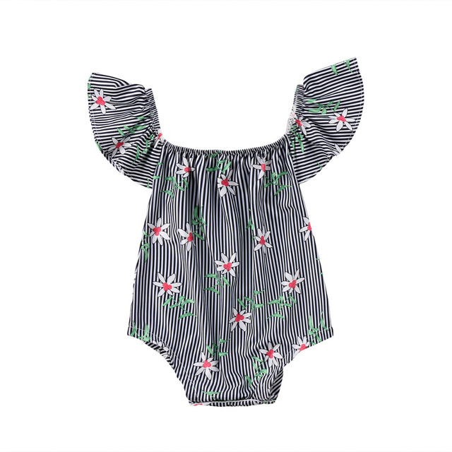 e151f912f Newborn Baby Girls Floral Romper Striped Jumpsuit Clothes Outfits ...