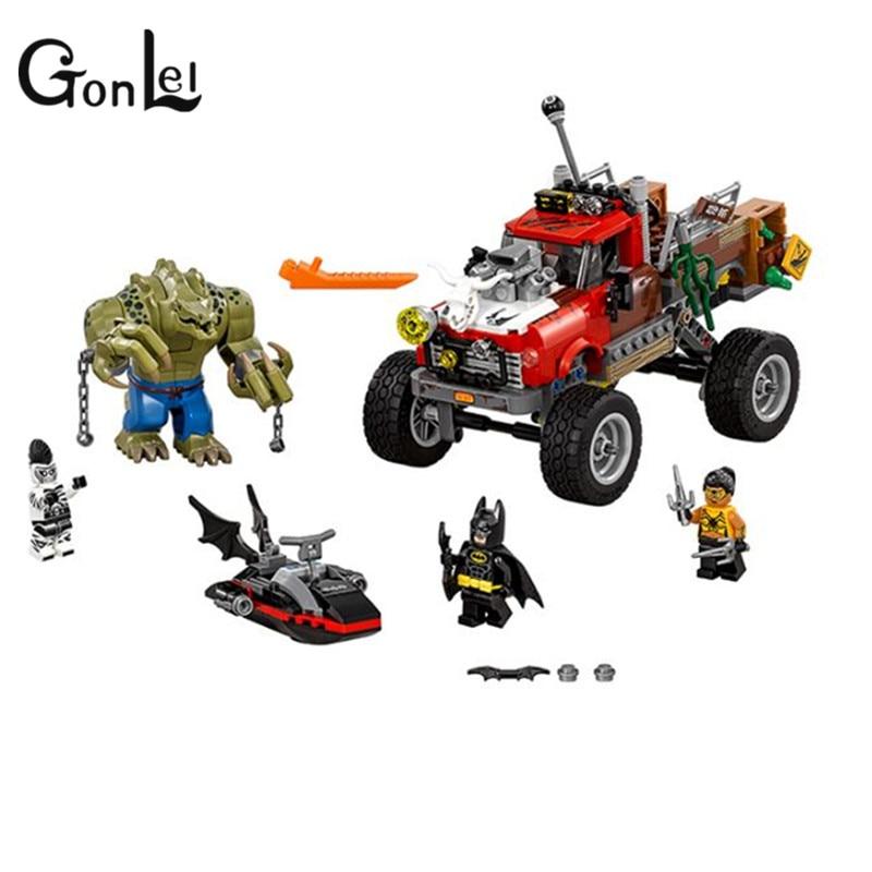 GonLeI New 460Pcs 34017 Batman Movie Series The Killer Crocodile Tail-Gator 70907 Building Blocks Bricks Educational Toys 07051