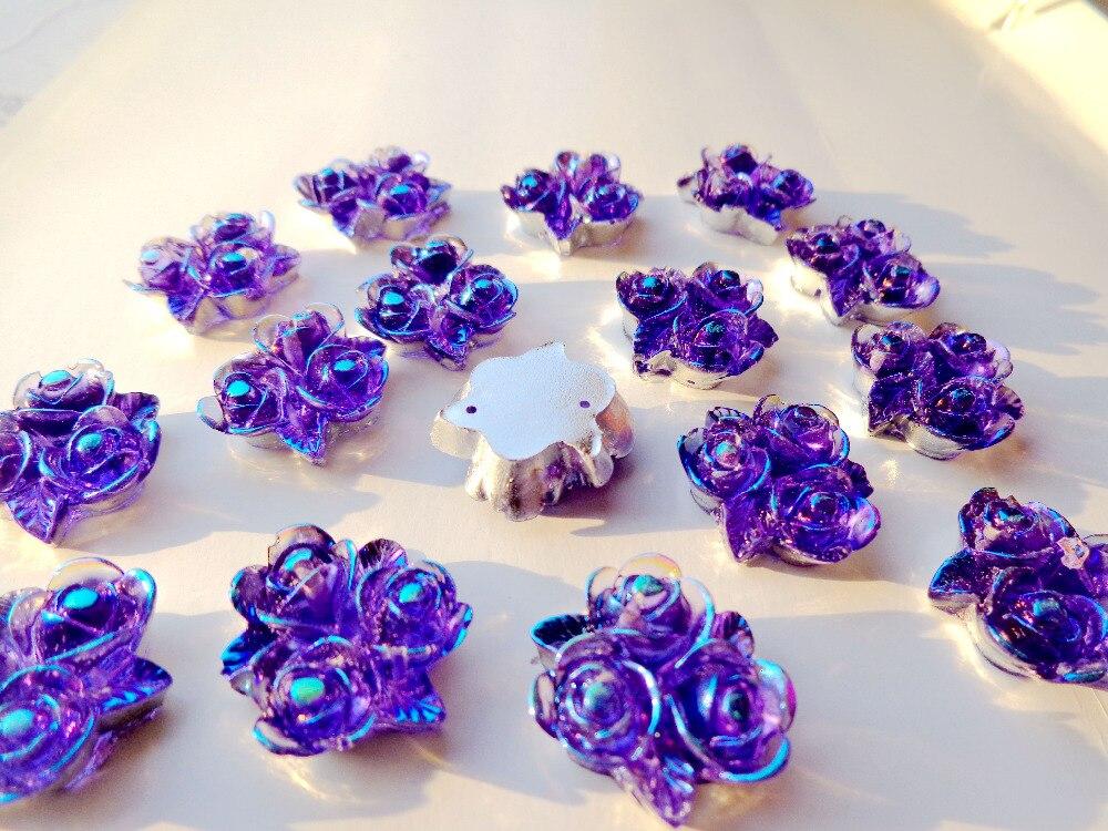 இ50pcs 20mm rose flower shape sew on purple rhinestones resin