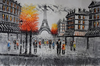 Hand Painted Modern Enropean Landscape Painting Paris Street Retro Brown Thick Oil Painting on Canvas Wall Art Picture for  Room