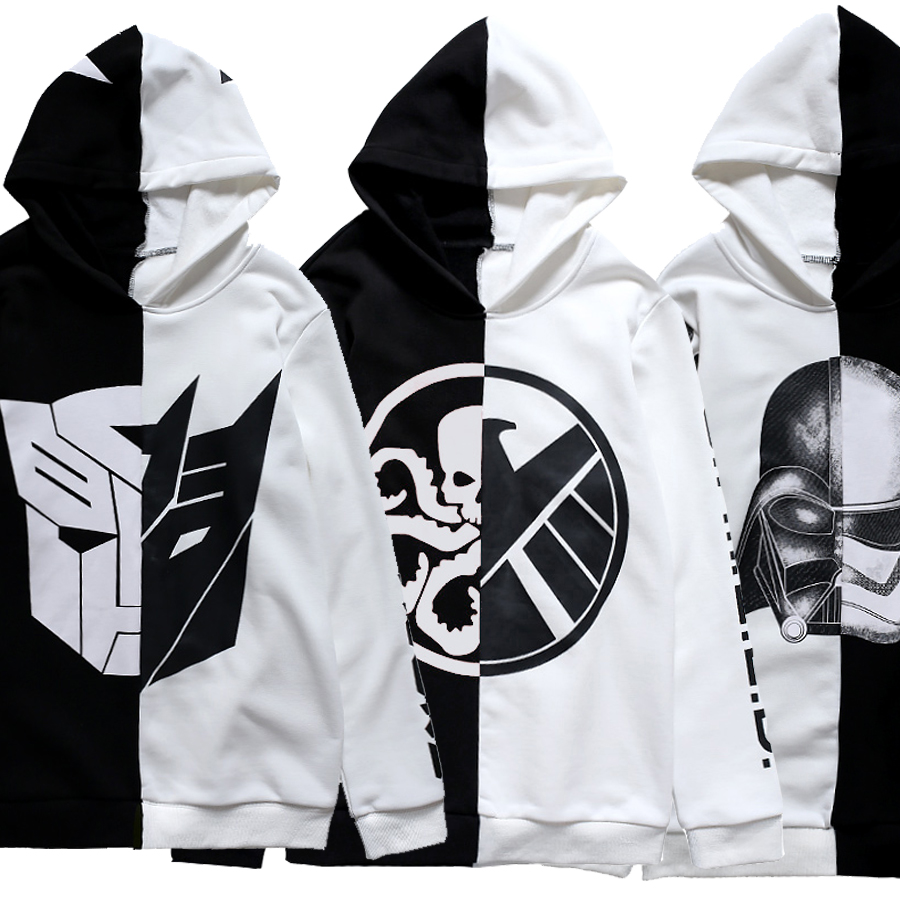 Star Wars Transformers Cosplay Costume Jacket Coat Hoodie Pullover Unisex Top Sweater Black white color matching