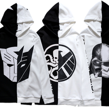 Star Wars Transformers Cosplay Costume Jacket Coat Hoodie Pullover Unisex Top Sweater Black white color matching Cool 2018