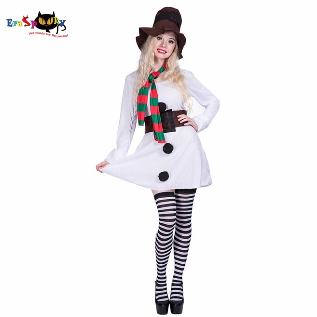 3743d398ef4 Women Sexy Snow Girl Winter Lady Snowman Costume Adult White Christmas  Cosplay Dress Party Fancy Dress