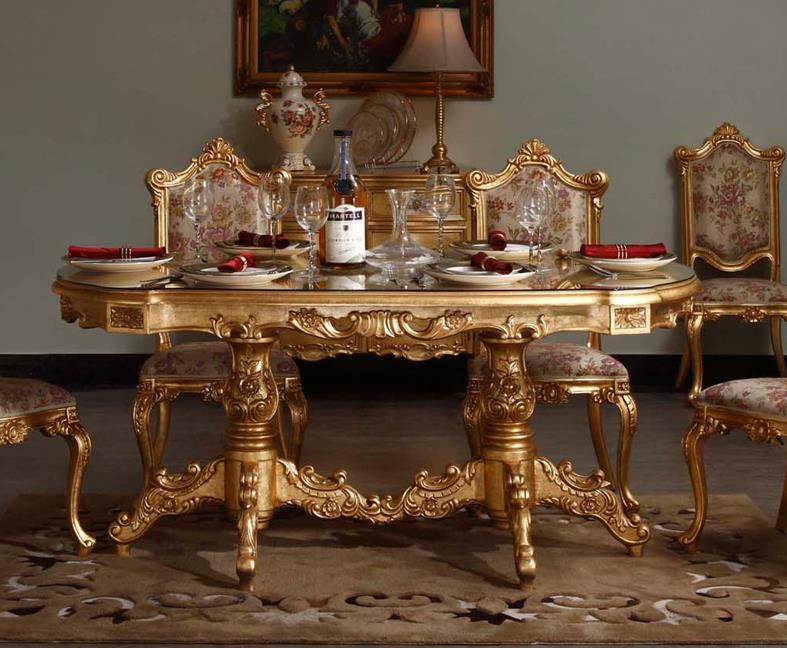 2015 Italian Baroque Style Upscale Restaurant Furniture Full Gilding Gold Art Wood Carving Oval Dining Table In Tables From On