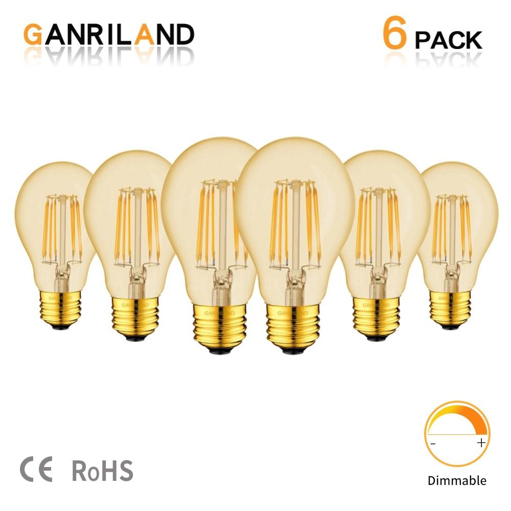Ganriland Led Filament Dimmable Bulb E27 Led Gold Tint A19 Vintage LED Lamps 2200K 8W Decorative Pendant Lights For Living Room