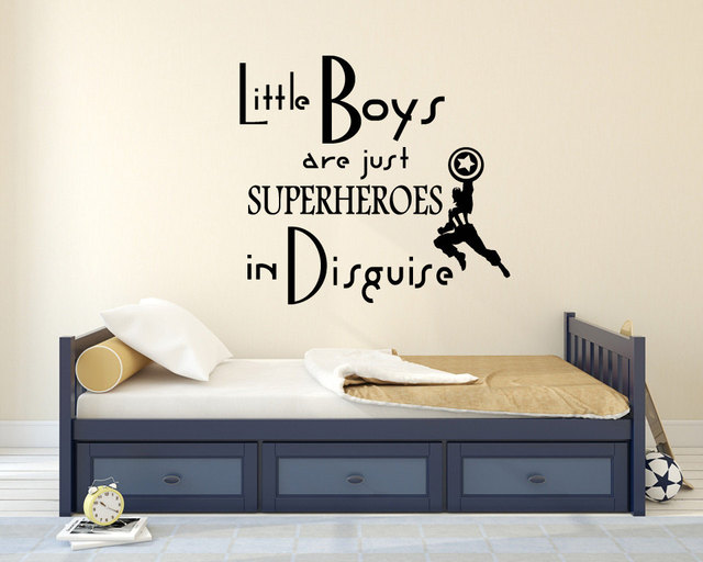 children wall decal baby little boys are superhero quotes wall