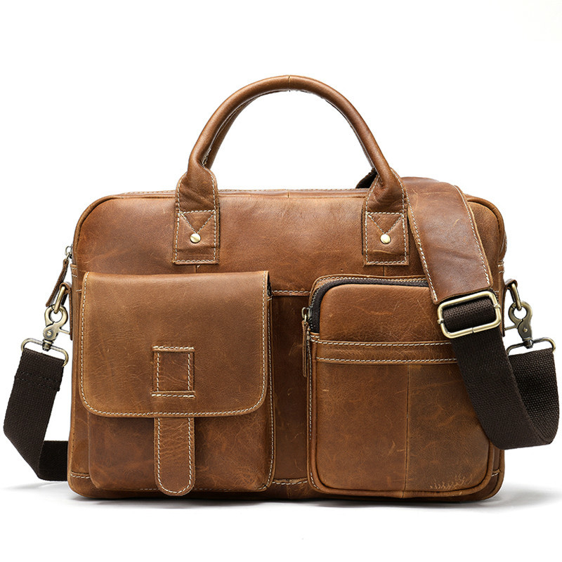 New Leather Men's Briefcase Laptop Bag Men Genuine Leather Office Work Handbag Man Business Tote For A4 Document Bolso Hombre