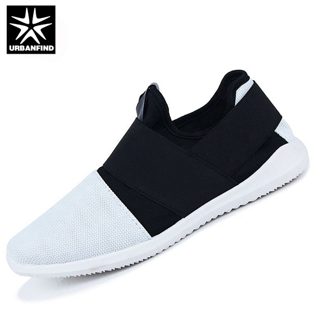 f3d9385ee2611b URBANFIND Men Fashion Sneakers Slip-on Footwear Size 39-44 Hot Sale  Breathable Mesh Upper Man Casual Shoes Black / White / Grey