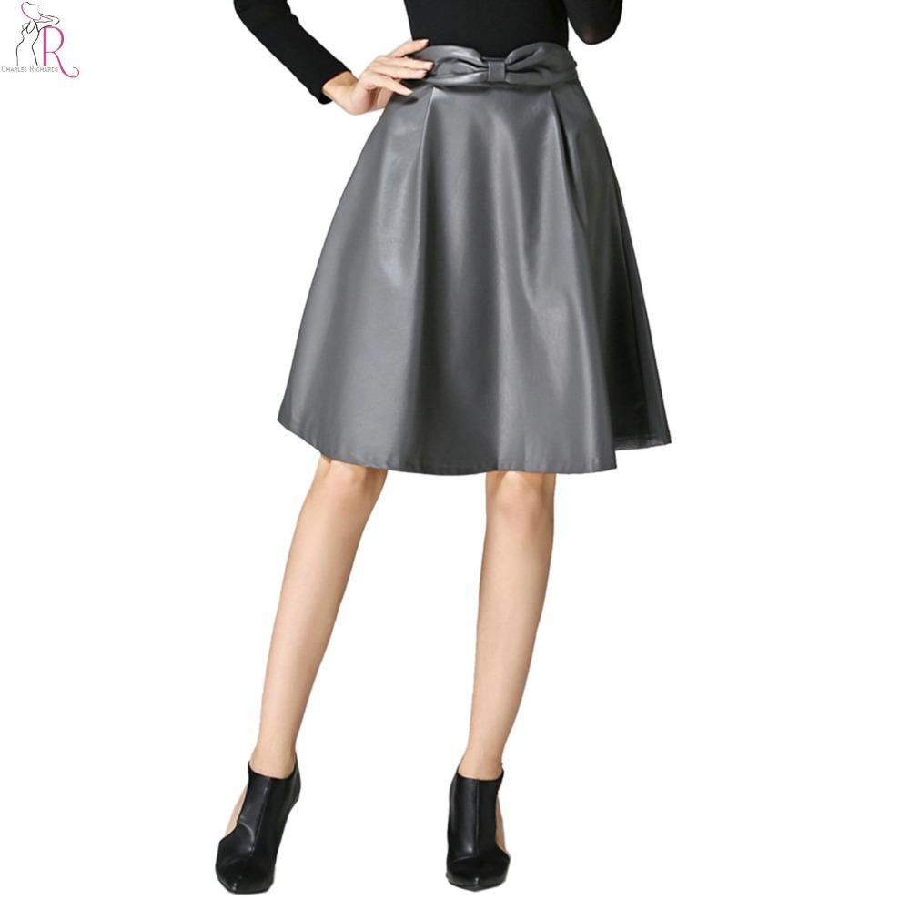 2 colors pu faux leather midi skater skirt high waist