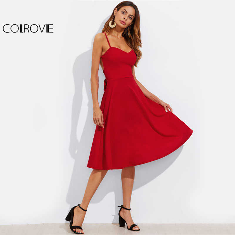 COLROVIE поясом крест-накрест с открытой спиной сексуальное красное платье для женщин Рождество Спагетти ремень спинки без рукавов миди вечерние платья