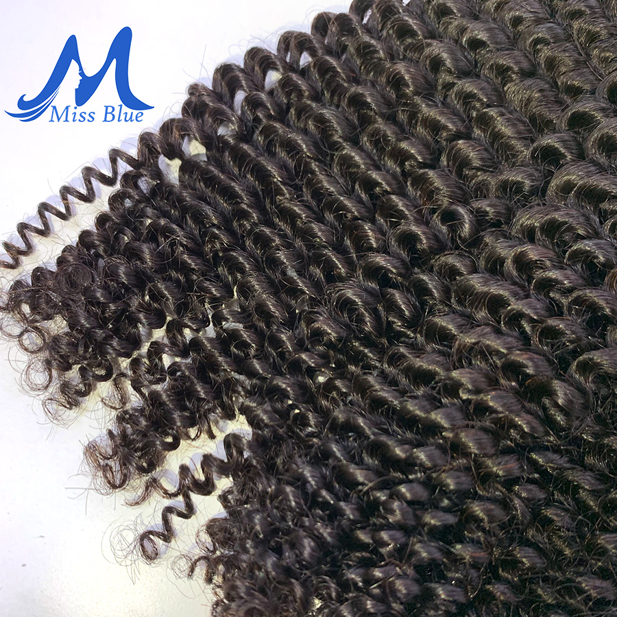 Missblue Afro Kinky Curly Virgin Hair 3 / 4 Bundles Brazilian Hair Weave Bundles 100% Remy Human Hair Extensions Natural Color 3