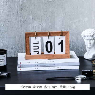 Simple wooden INS Flip calendar Desk desk decorates study of small adornment of northern Europe statue home decoration wedding